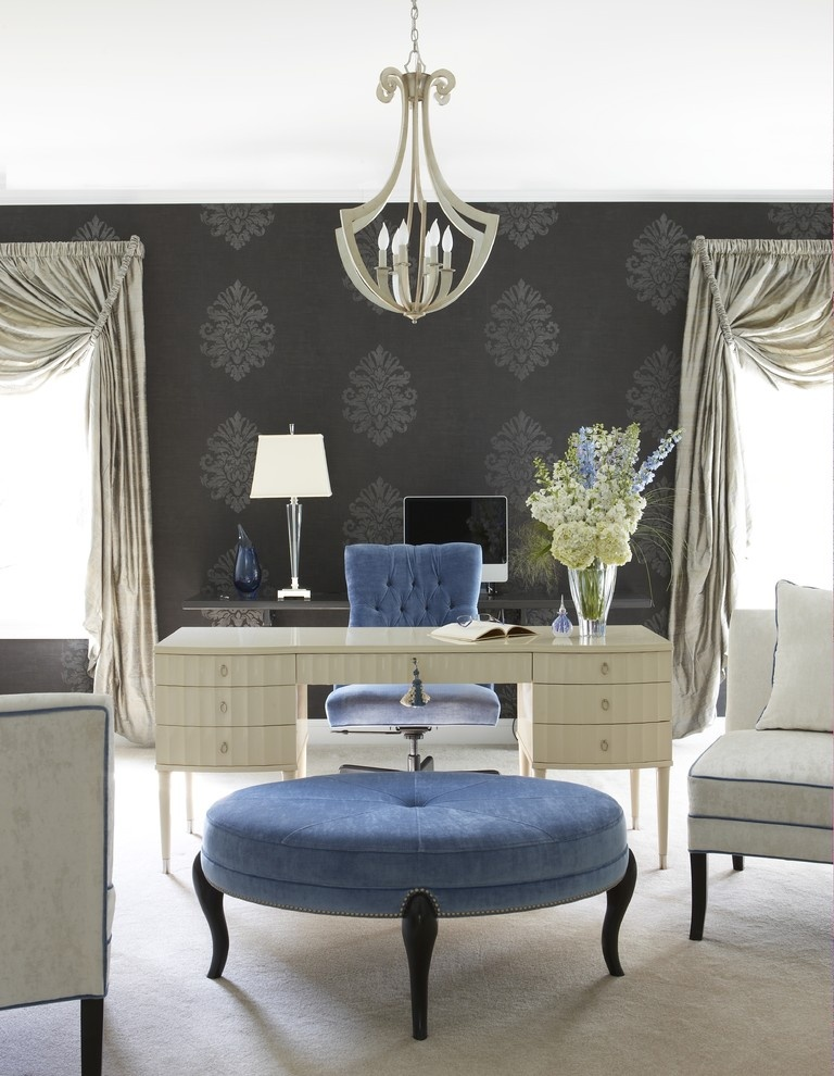 Eclectic Home Office by Farmington Interior Designers & Decorators Cynthia Mason Interiors